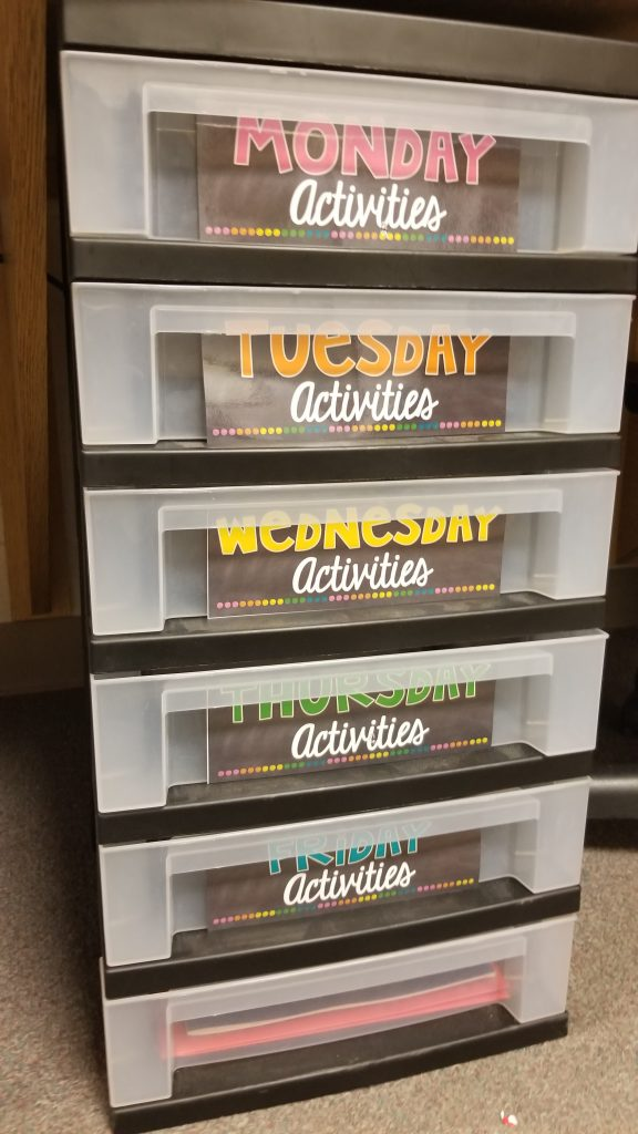 Organize your classroom activities with this storage cart. It seriously saves me so much time and effort finding things. I sort my lessons by the days of the week each Friday for the following week and it's all ready to go!