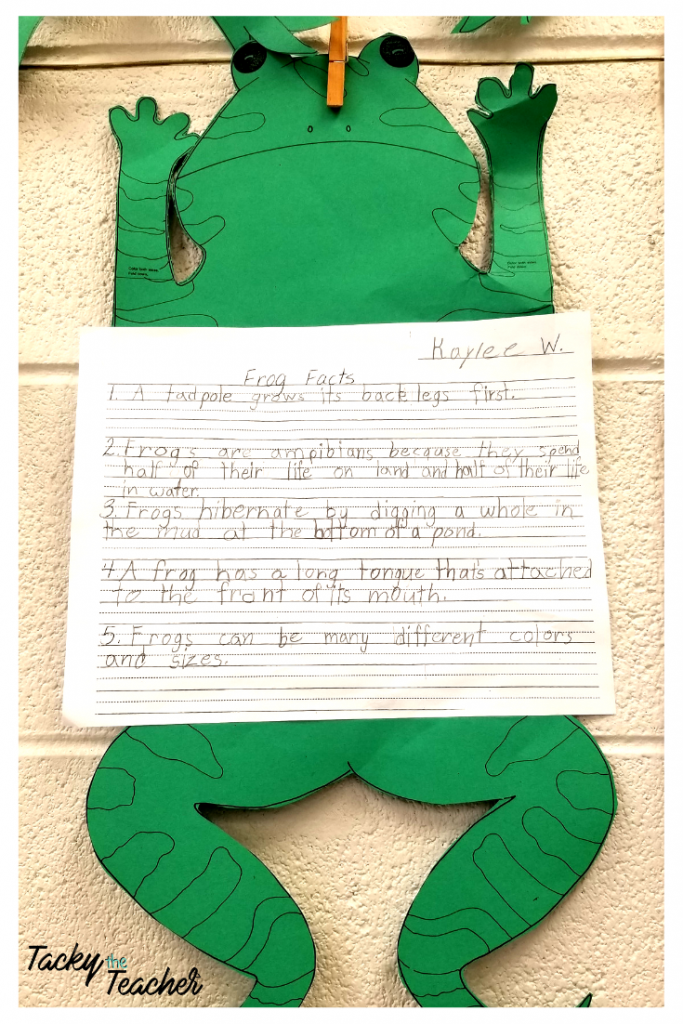 Frog facts non-fiction sentence writing with {freebies} to go along with my frog and toad unit for the week.