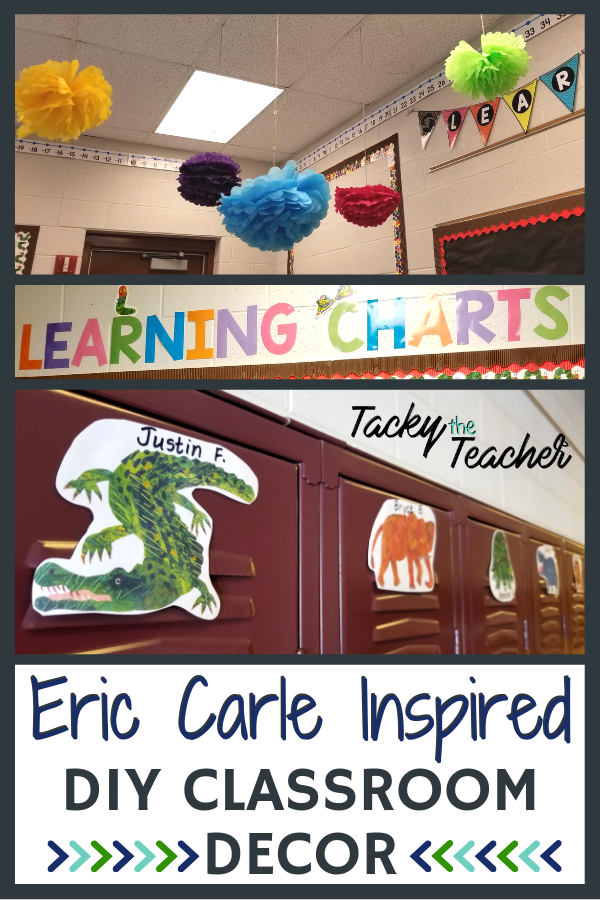 eric carle, classroom theme, decor, DIY, Tacky the Teacher, learning charts, animals, zoo, polka dots, bright and bold, rainbow, locker tags, colorful