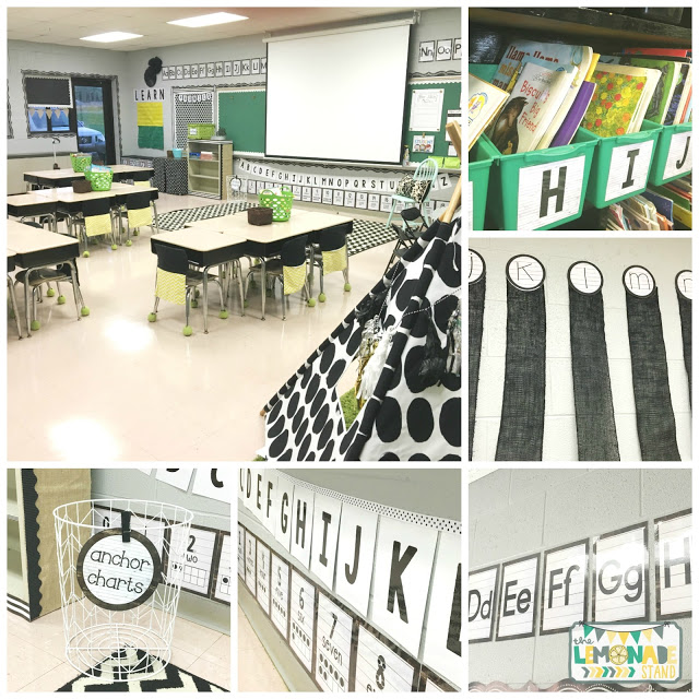 Farmhouse Theme classroom reveal from The Lemonade Stand. I love her subtle mix of patterns with a pop of green!