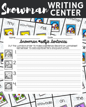 Snowman, snow, snowflakes, writing center, grammar