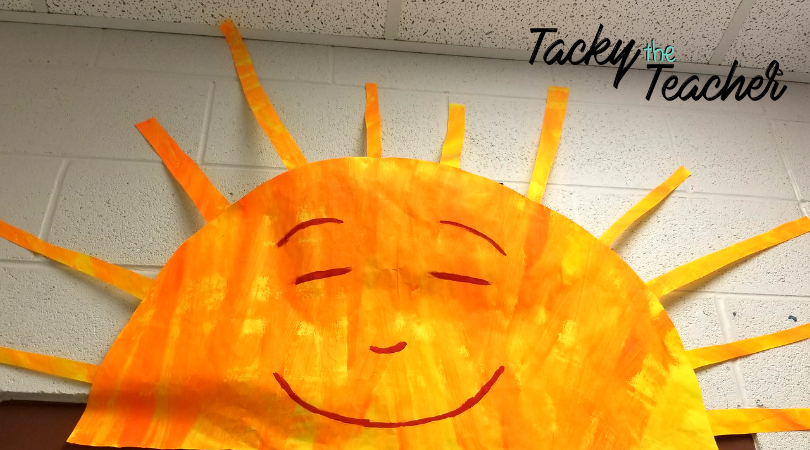 Mr. Sun for an Eric Carle inspired classroom theme! He looks so cheerful and happy covering my digital clock, to encourage students to learn how to read an analog clock.