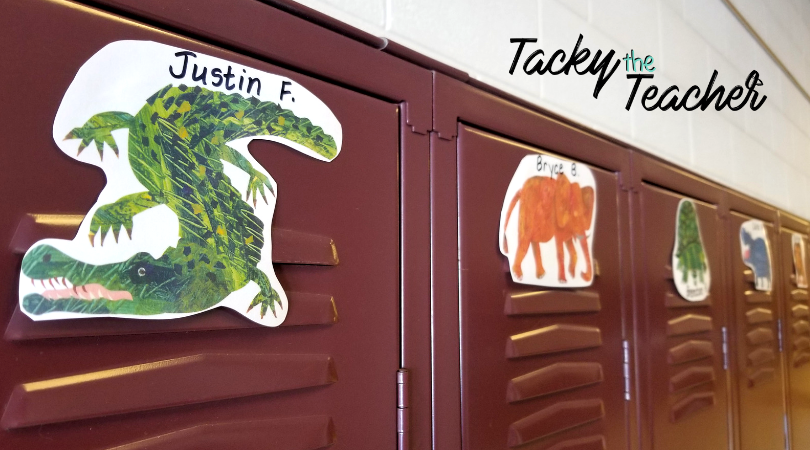 Locker tags for Eric Carle classroom decor. Zoo animals from all of his best stories. What a great theme for an early childhood classroom!