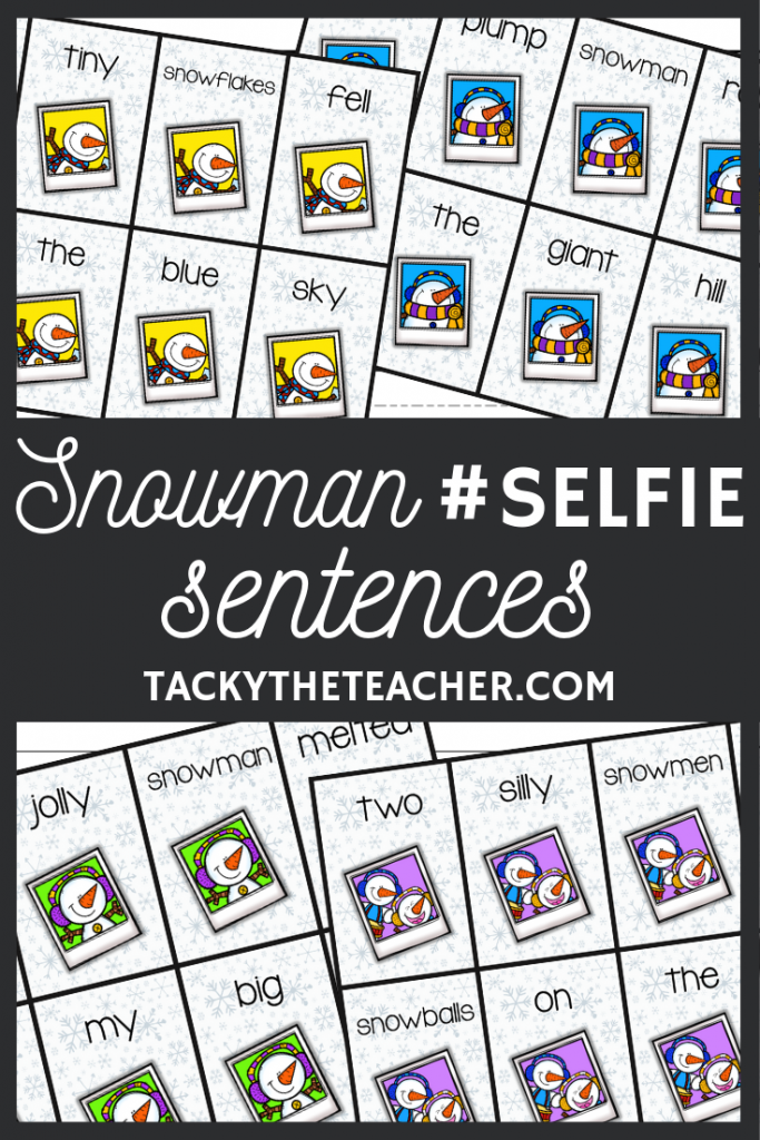 Practice writing sentences during a mini lesson, centers, or Writer's workshop with this Snowman #selfie sentence writing activity.