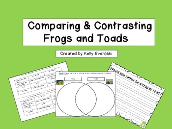 FREE comparing and contrasting frogs and toads to go along with my Frogs and Toads activities for the week!