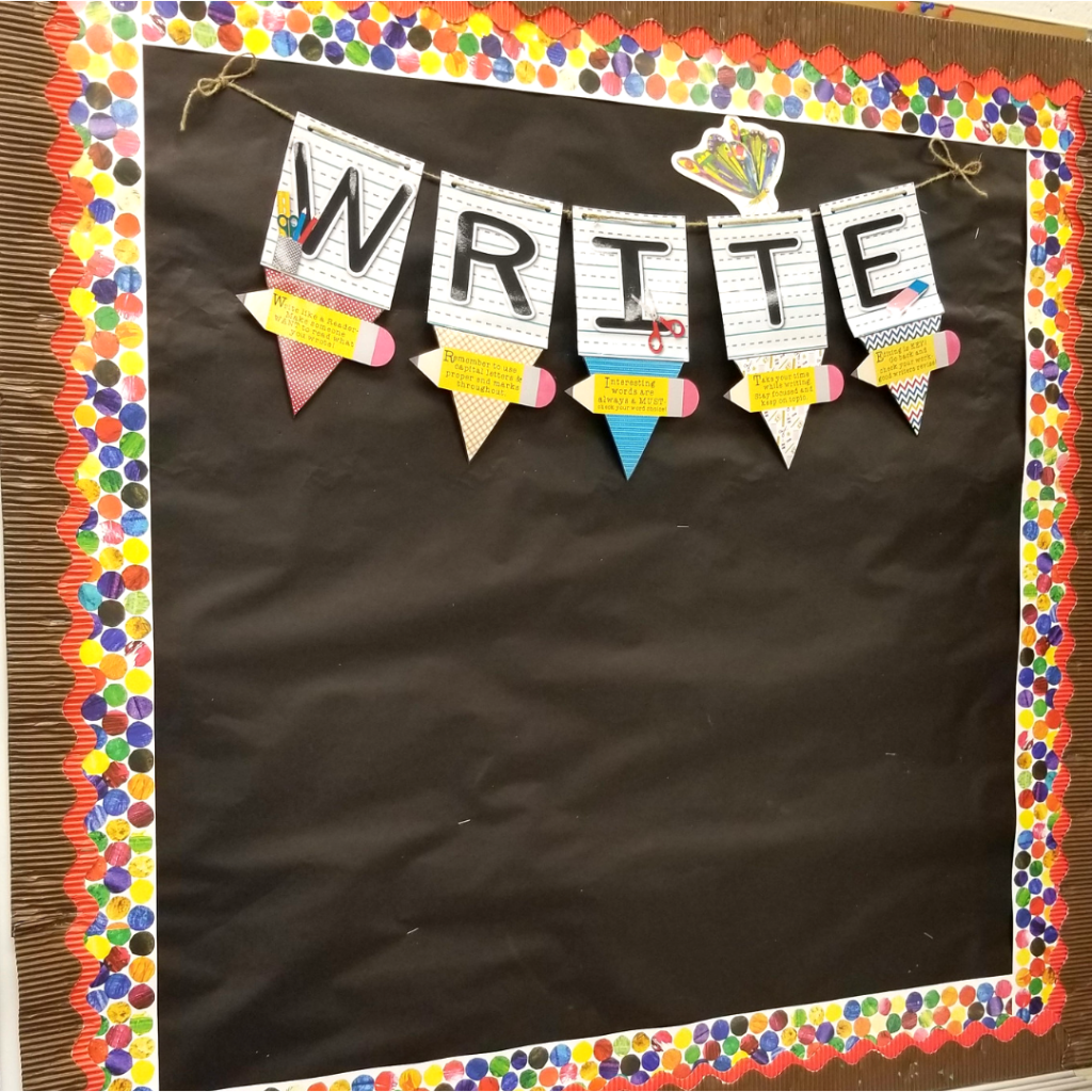 Eric Carle classroom theme, Eric Carle polka dots border, red and brown bordette, writing goals, write display, writer's workshop