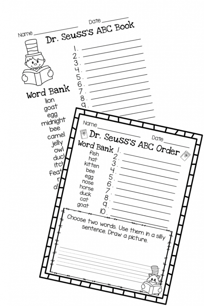 ABC Order and Other Literacy Activities to go along with the Book Dr. Seuss's ABC