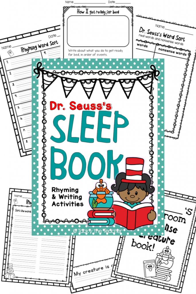 9 Silly Dr. Seuss's Sleep Book Rhyming and Writing Activities Pack