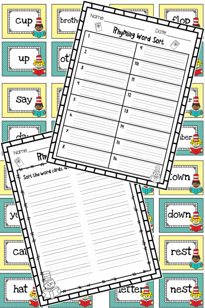 Rhyming Word Card Match and Worksheet for Dr. Seuss's Sleep Book