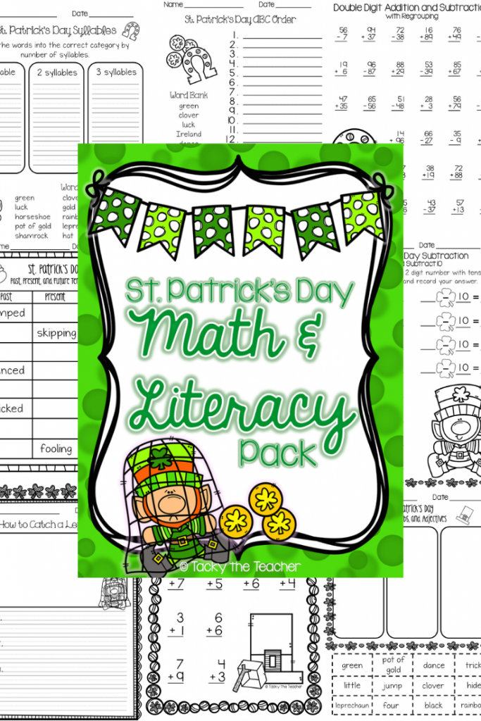 Get this St. Patrick's Day Math & Literacy Pack {FREE} - Use this March Pack to Practice Learning Skills, including ABC Order, Syllables, Nouns, Verbs, Adjectives (parts of speech), Single and Double Digit Addition and Subtraction, Comparing Numbers and Number Sense. It also includes 2 different Leprechaun Writing Prompts.