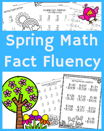 Spring Math Fact Fluency Pack with Single and Double Digit Addition & Subtraction, Money, and Comparing Numbers (,=)