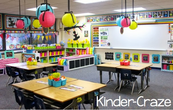 Bright and Colorful Classroom with Black Silhouettes from Kinder-Craze