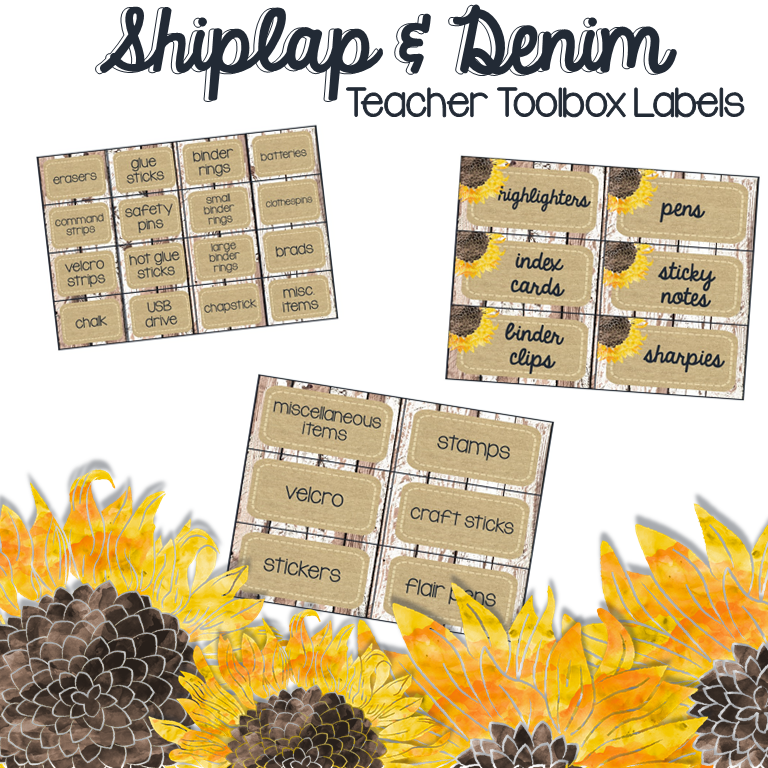 Shiplap & Denim Teacher Toolbox Labels for Shabby Chic and  Farmhouse Inspired Decor