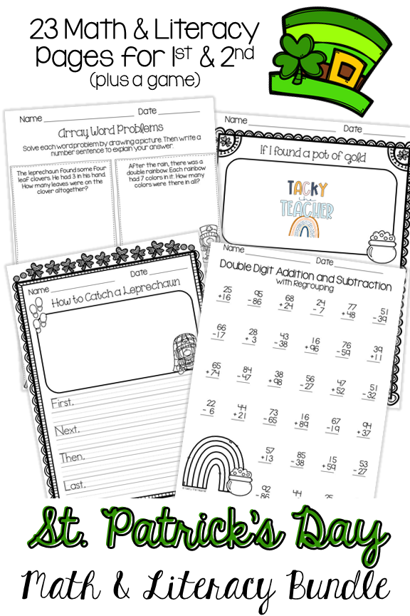 St. Patrick's Day Activities Math & Literacy Bundle