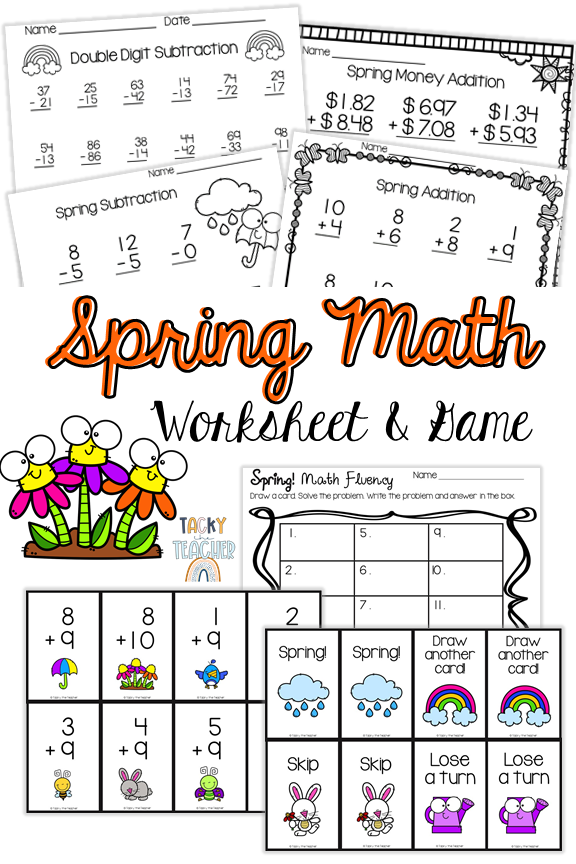 Spring Math Fact Fluency Worksheets & Game