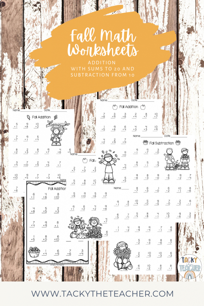 A wood background with fall themed worksheets for students to practice addition facts to 20 and subtraction facts from 20