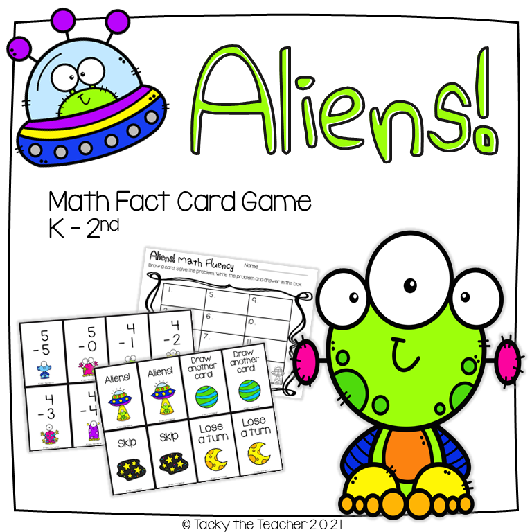 alien activities math game to practice math facts with addition to 20 and subtraction from 10
