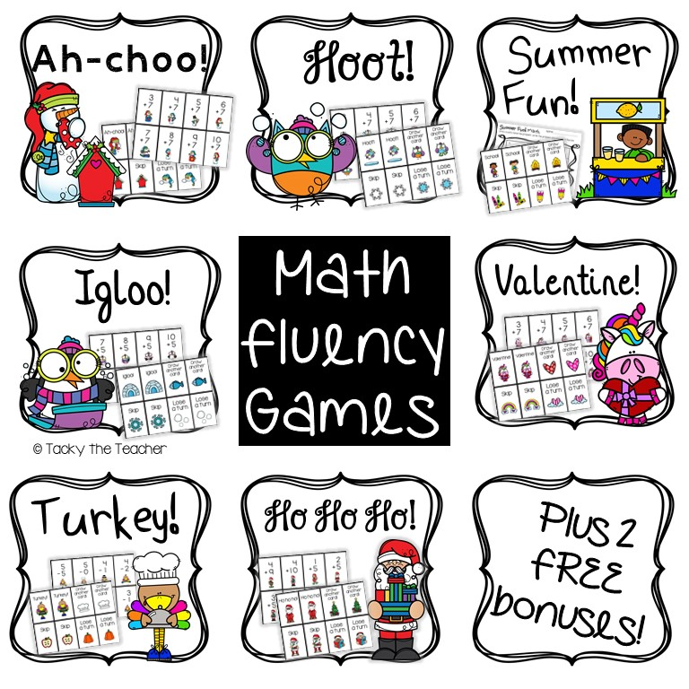 Math fluency games bundle with 7 different games to practice the same math skills plus 2 free bonus games