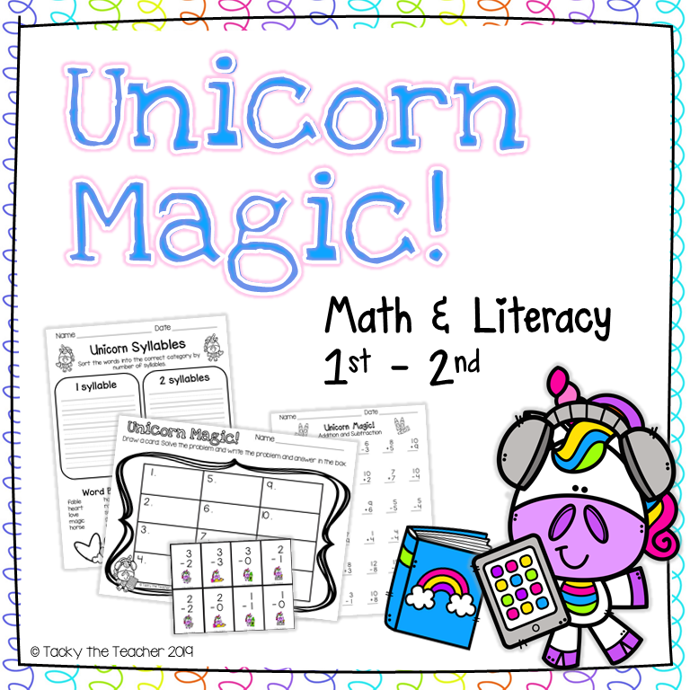 unicorn math and literacy bundle with writing, addition, subtraction, and a math game