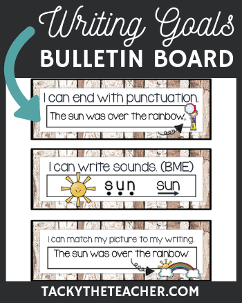 Bulletin board display, writing, grammar, conventions, punctuation, capitalization, word wall
